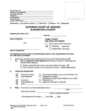 Arizona affidavit of financial information fill online printable pre trial statement form solutioingenieria Gallery