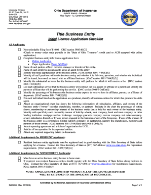 INS3038. Title Business Entity License Initial Application Checklist - insurance ohio