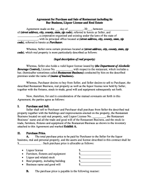 Agreement For Purchase And Sale Of Restaurant Including Its Bar .