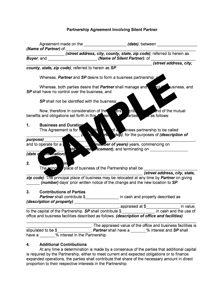Silent Partner Agreement Pdf Fill Online Printable