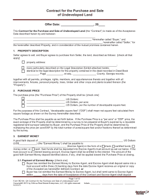 sample undeveloped property contract form