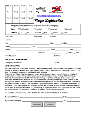 Player Registration St Petersburg Parks And Recreation