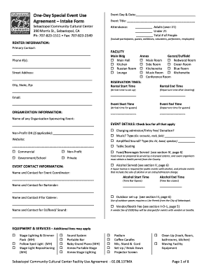 Get Rental Agreement For Community Center Form Samples To