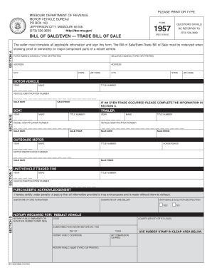 mo form 1957 Bill Of Sale Form Missouri Vehicle Bill Of Sale Templates - Fillable ...