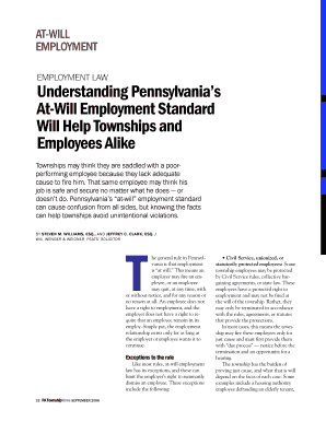 AT WILL AT WILL EMPLOYMENT Understanding Pennsylvania S At Will Employment  Standard Will Help Townships And Employees Alike Townships May Think They  Are ...
