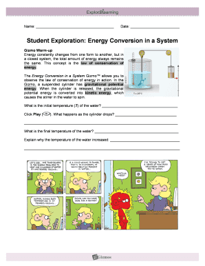 Fillable Online Student Exploration Energy Conversion in a ...