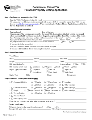 Commercial Property Management Agreement Washington State. Commercial  Vessel Tax Personal Property Listing Application