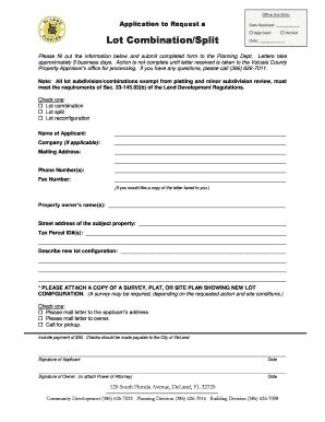 Lot Combination / Split (.pdf Form) - City of DeLand