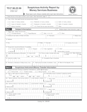 Fillable Online SAR-MSB - TD F 90-22.56 Form Only - remitAnywhere ...