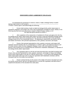 Indemnification Agreement Drainage 01-12-12 - City of Indianapolis - indygov
