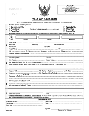 Thailand Visa Application Form Pdf Fill Online Printable Fillable Blank Pdffiller