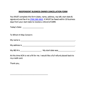 Cancellation Acn - Fill Online, Printable, Fillable, Blank | PDFfiller