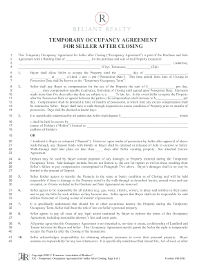 Fillable Online Temporary occupancy agreement for seller after ...