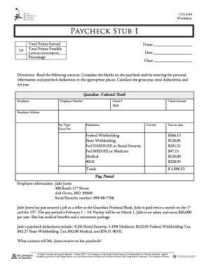 paycheck stubs worksheet fill online printable fillable blank pdffiller. Black Bedroom Furniture Sets. Home Design Ideas