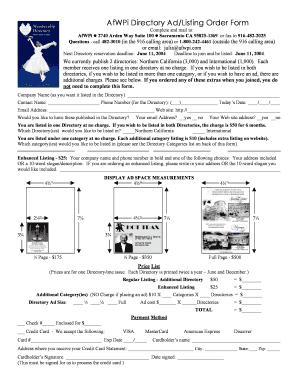 AfWPi Directory Ad Listing Order Form