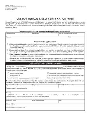 Fillable Online colorado CDL DOT MEDICAL & SELF CERTIFICATION FORM ...