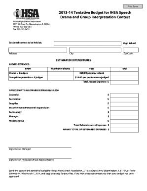 Print Form 2017 14 Tentative Budget For Ihsa Sch Drama And Group Interpretation Contest Illinois