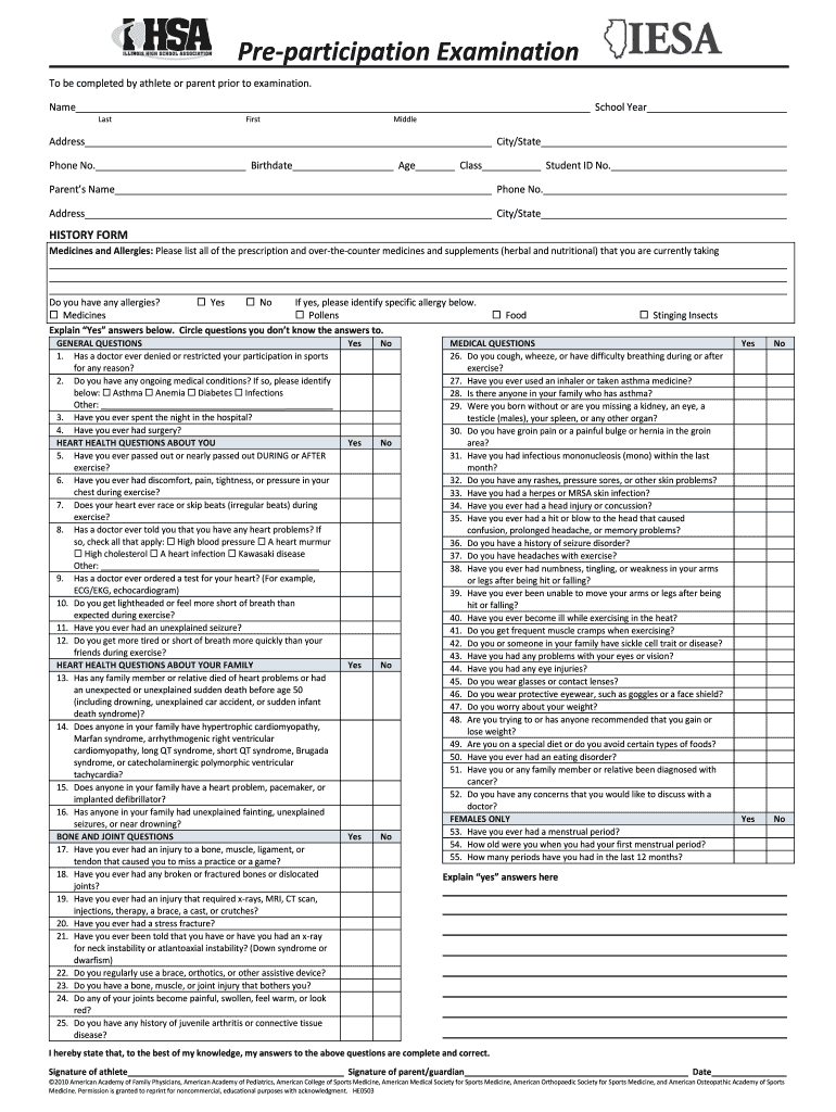 sports physical form for illinois  Illinois Sports Physical Form 7 - Fill Online, Printable ...