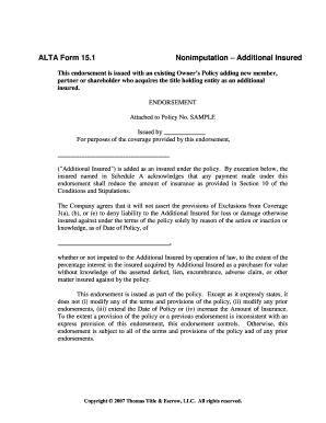 Fillable Online ALTA Form 15.1 Fax Email Print - PDFfiller