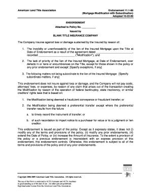 Fillable Online 200910 alta endorsement form 11.1 (pdf) - Thomas ...