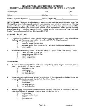 texas board of plumbing examiners Texas State Board Of Plumbing Examiners Residential Utilities ...