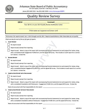 Quality Review Survey - Arkansas