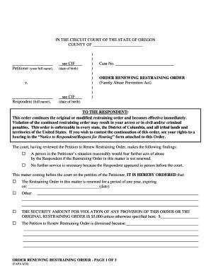 Restraining order forms online