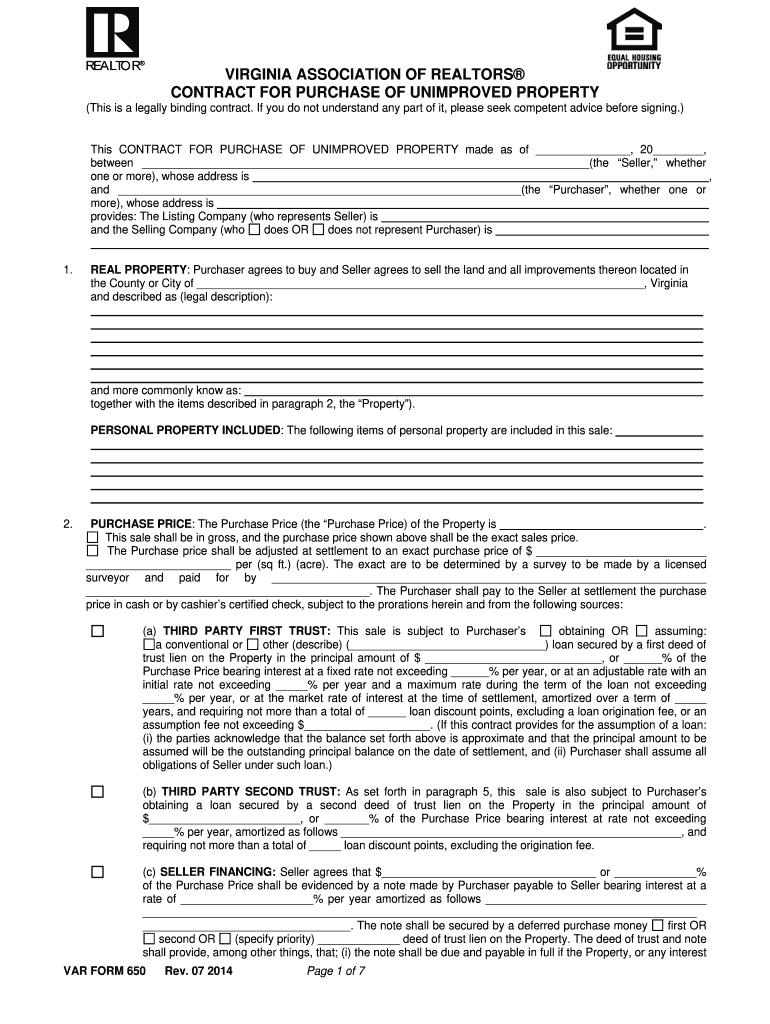 Var Form 650 Fill Online Printable Fillable Blank Pdffiller
