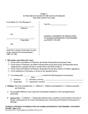 Form 11 General Judgment of Dissolution - Oregon State Courts - courts oregon