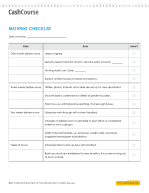 Moving Checklist Worksheet - laney