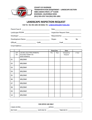 landscapping report sheet