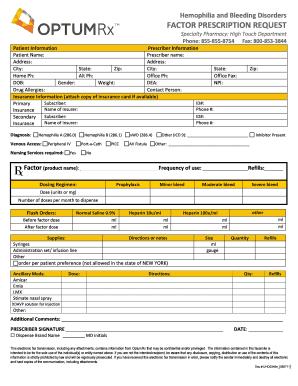 Fillable Online Factor Prescription Request Form - OptumRx Fax ...