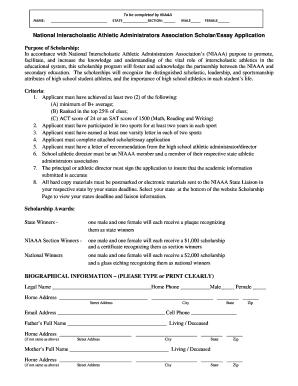 fillable whsaa new niaaa student essay scholarship application msada whsaa fax email