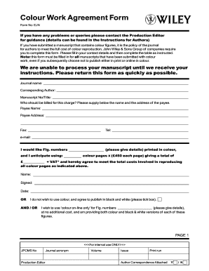 Colour Work Agreement Form Wiley Fill Online Printable