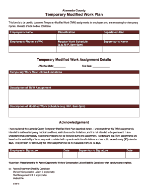 Temporary Modified Work Plan - Alameda County Government