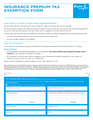 Bupa Ipt Exemption Declaration Fill Online Printable Fillable
