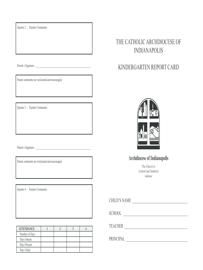 kindergarten report card template  fill online printable