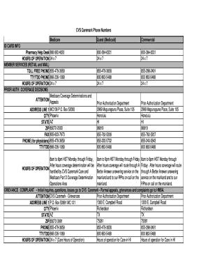 Fillable Online CVs Caremark Phone Numbers - 01/13 - HMSA