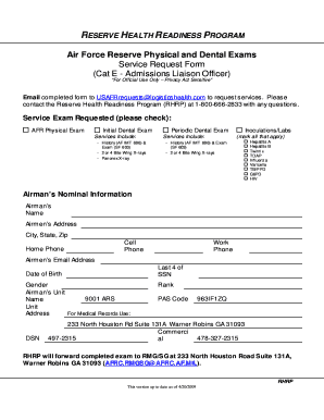 Fillable Online Air Force Reserve Physical and Dental Exams ...