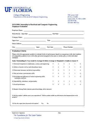EGN 5949 Internship Employee Evaluation Form - Department of ...