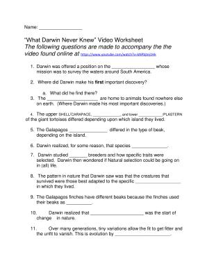 What Darwin Never Knew Worksheet Answers  Week 3 Video ...