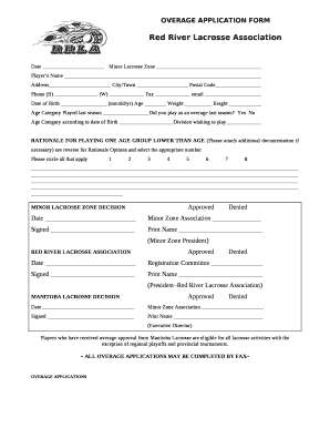 OVERAGE APPLICATION FORM