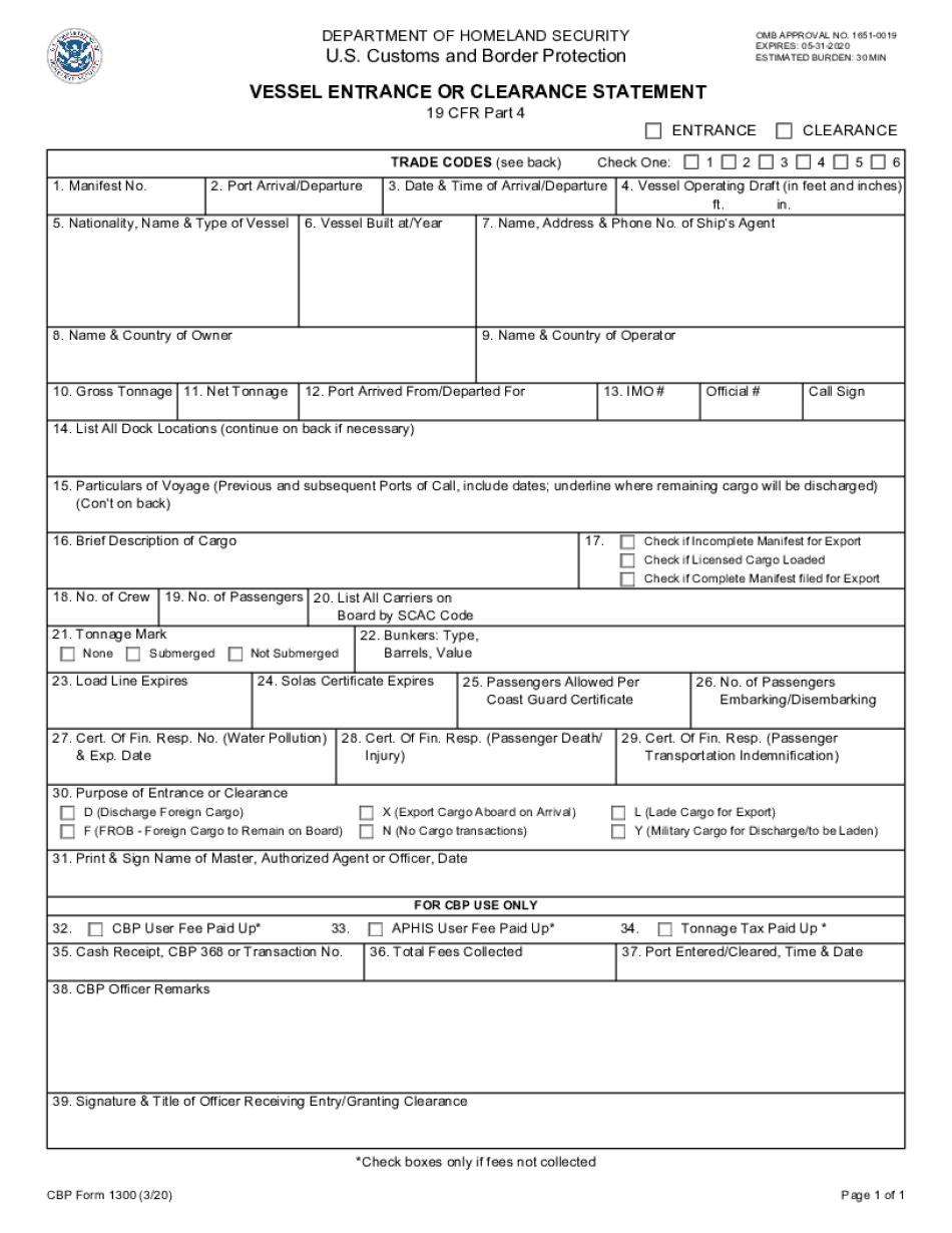 CBP Form 1300