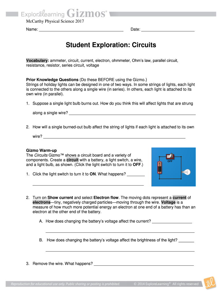 Student Exploration Circuits Answer 2020 - Fill and Sign ...