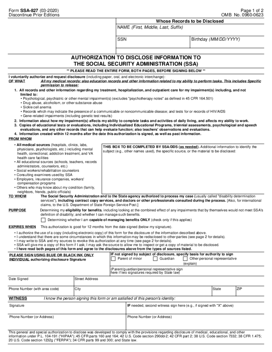 Form SSA-827