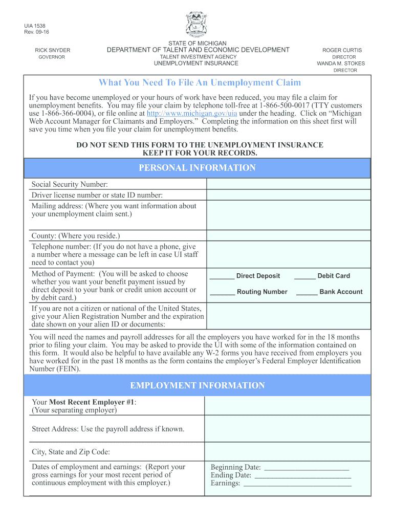2016-2020 Form MI UIA 1538 Fill Online, Printable ...