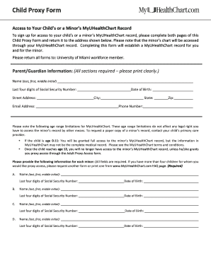Fillable Online Child Proxy Form - MyUHealthChart Fax Email