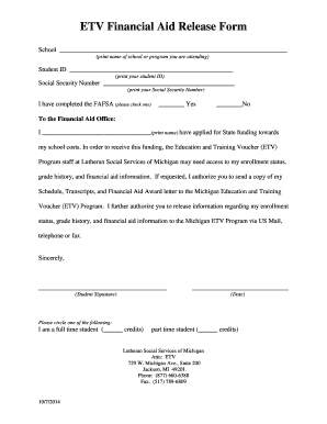 financial release form Fillable Online mietv lssm ETV Financial Aid Release Form - Michigan ...