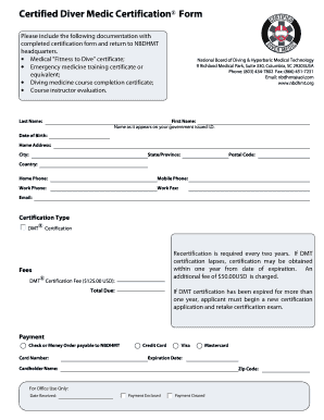 Diver Medic Certification Form - National Board of Diving and ...