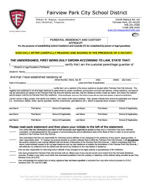 Affidavit of custodial parent printable templates to fill out parental residency and custody affidavit 2 fairview park city altavistaventures Choice Image